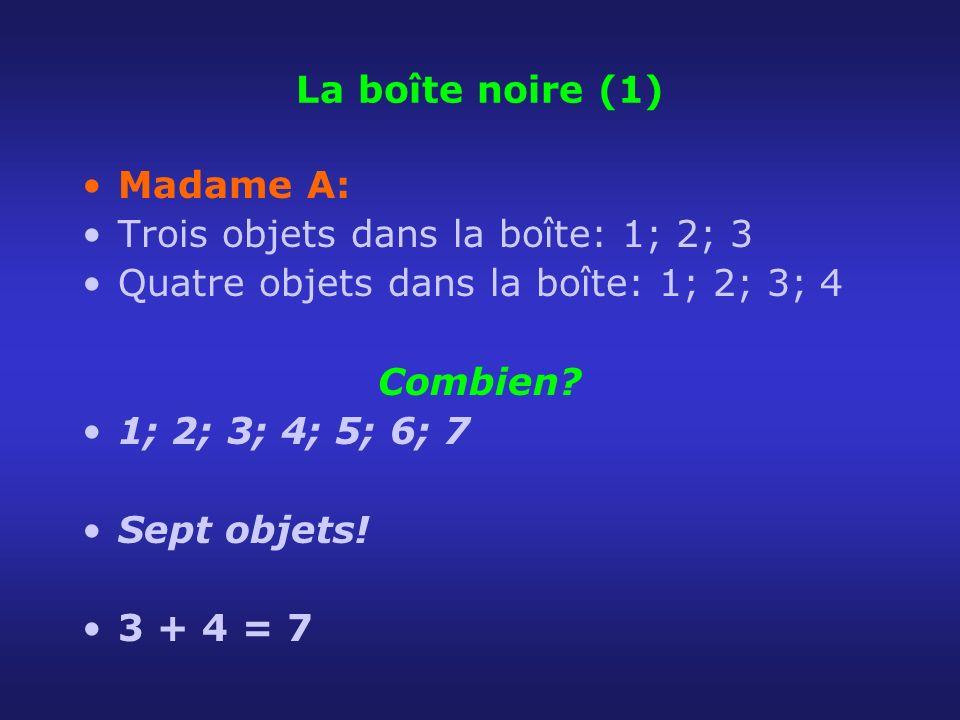 La boîte noire (1) Madame A: Trois objets dans la boîte: 1; 2; 3. Quatre objets dans la boîte: 1; 2; 3; 4.