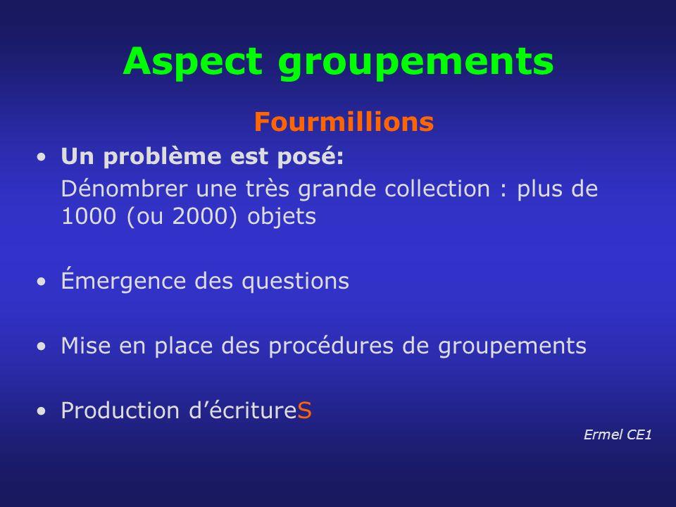 Aspect groupements Fourmillions Un problème est posé: