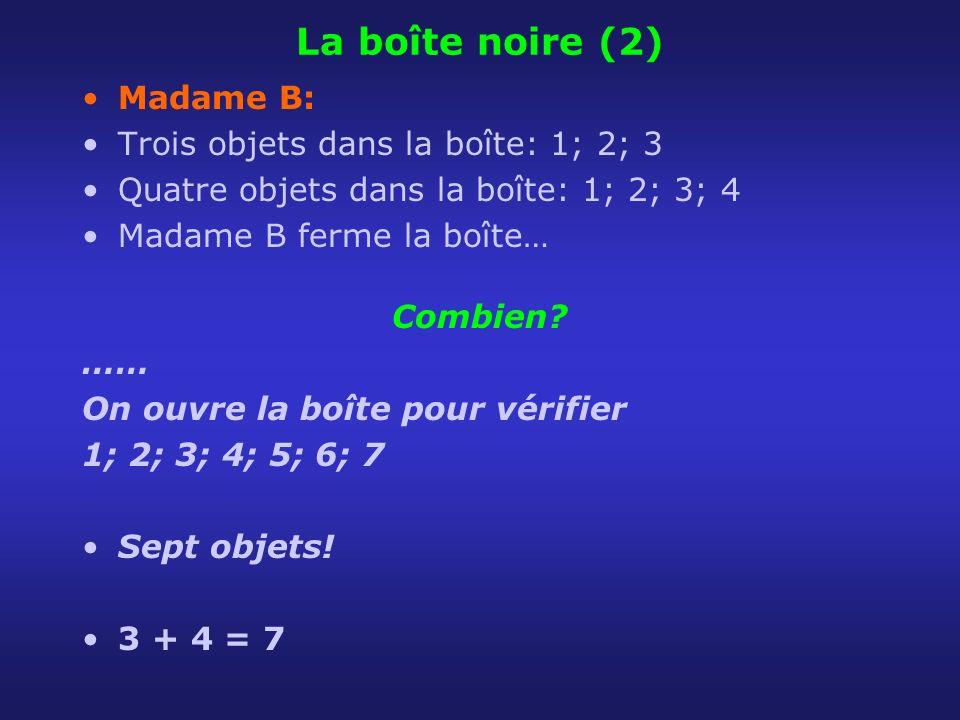 La boîte noire (2) Madame B: Trois objets dans la boîte: 1; 2; 3