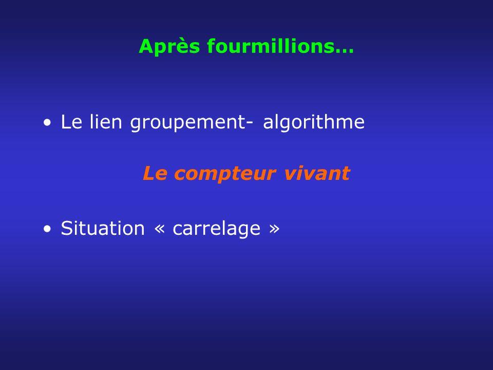 Après fourmillions… Le lien groupement- algorithme Le compteur vivant Situation « carrelage »