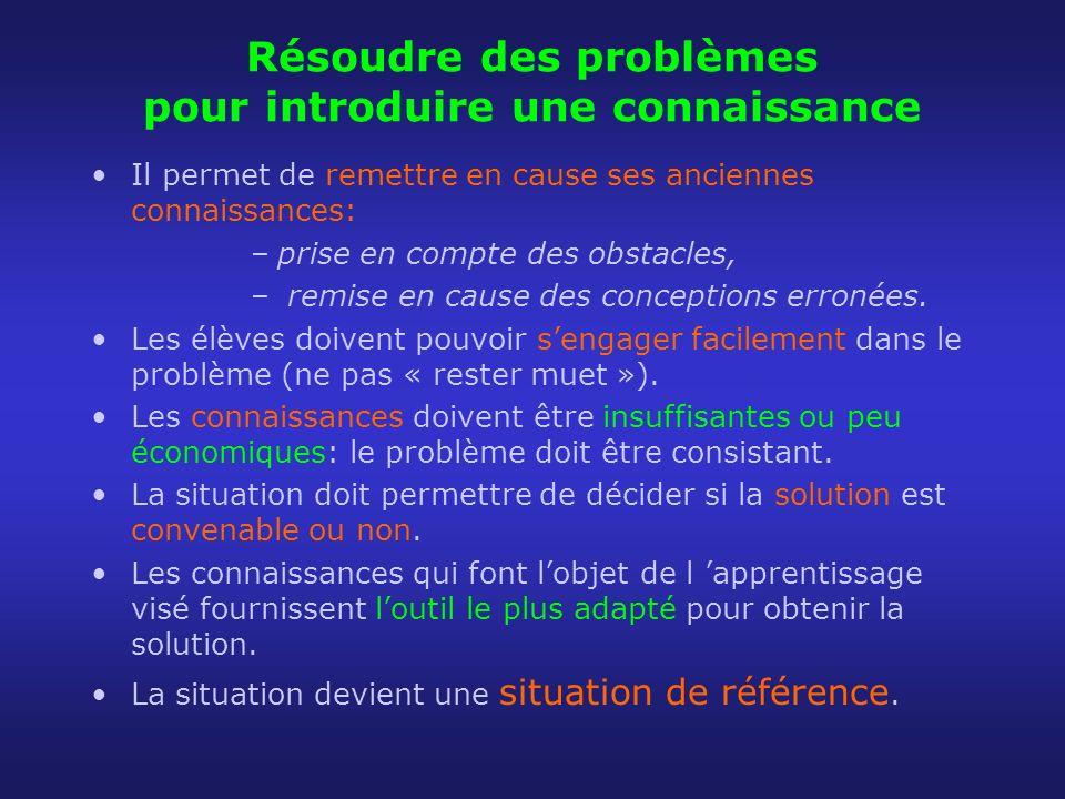 Résoudre des problèmes pour introduire une connaissance