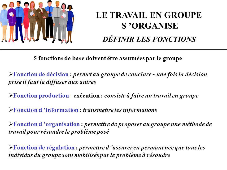 5 fonctions de base doivent être assumées par le groupe