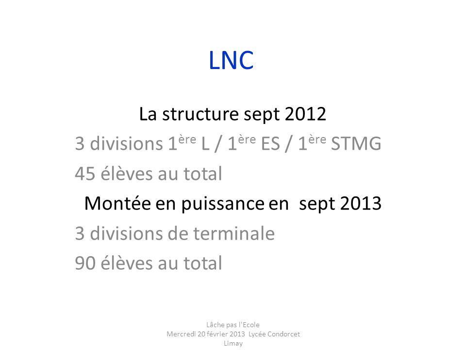 LNC La structure sept 2012 3 divisions 1ère L / 1ère ES / 1ère STMG