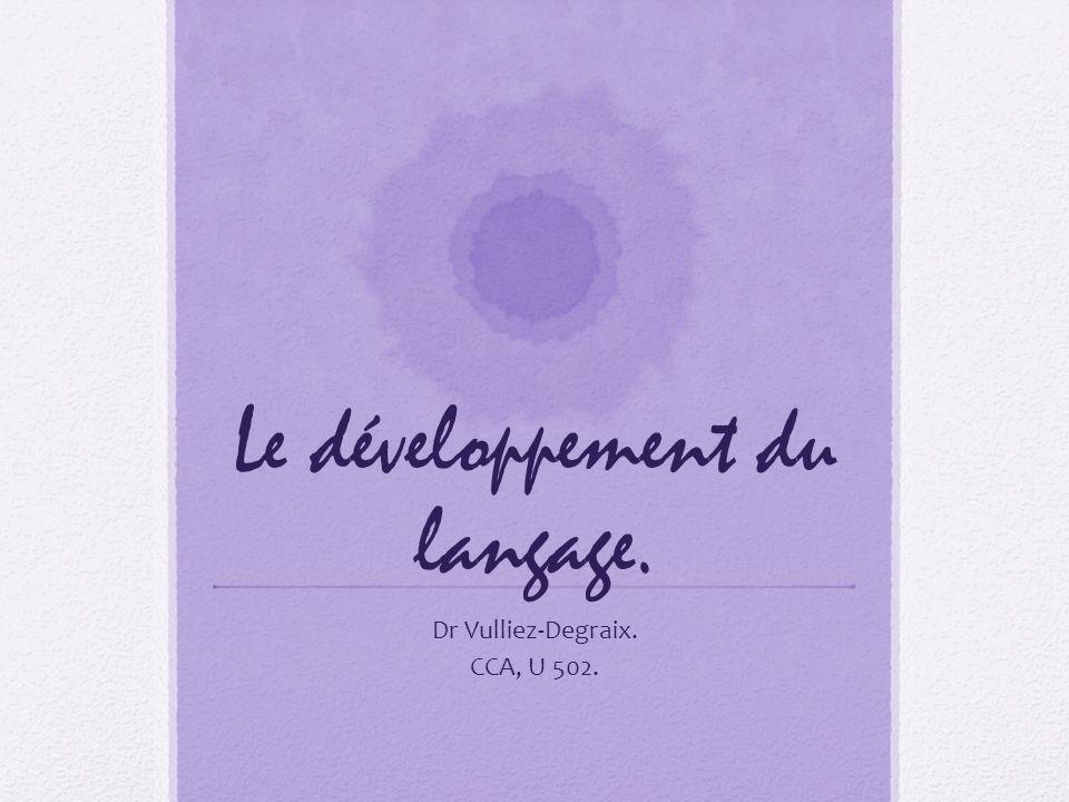 Le développement du langage.