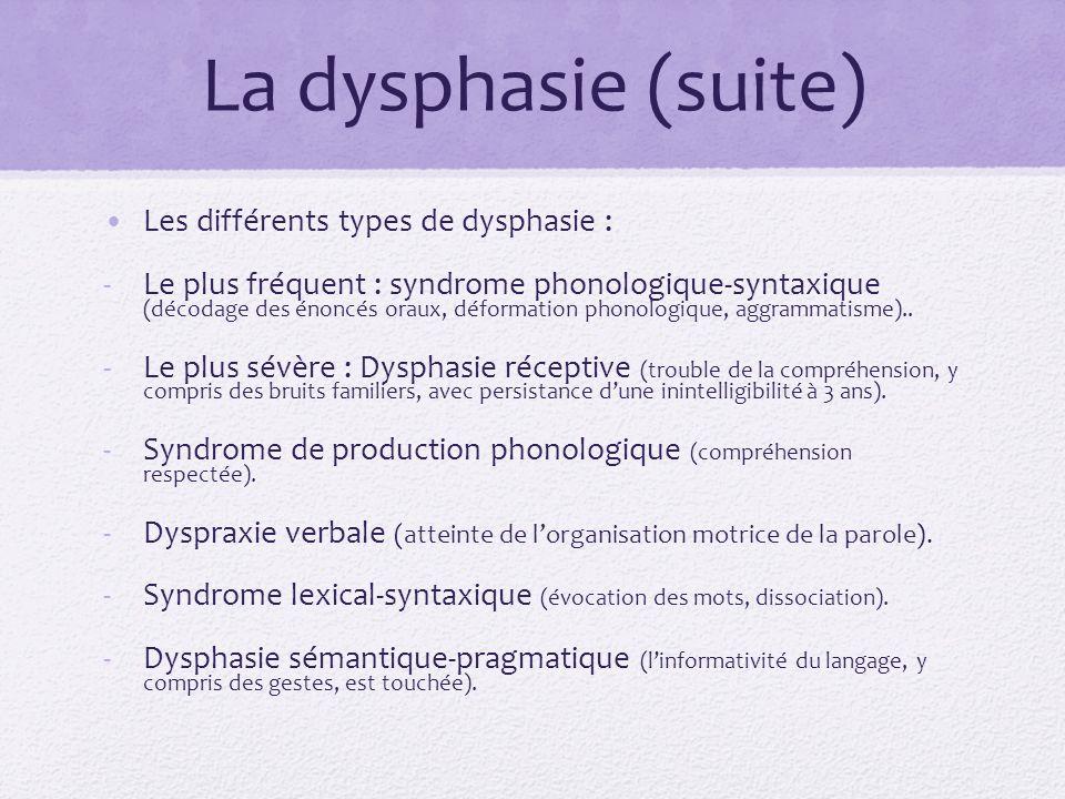 La dysphasie (suite) Les différents types de dysphasie :