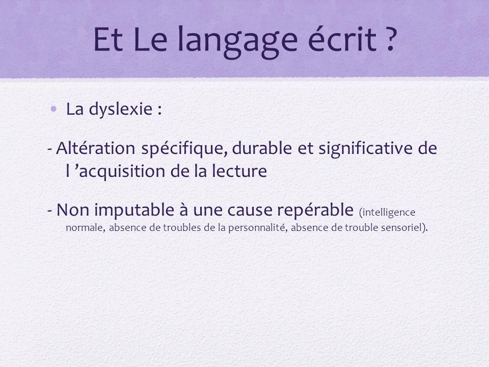 Et Le langage écrit La dyslexie :