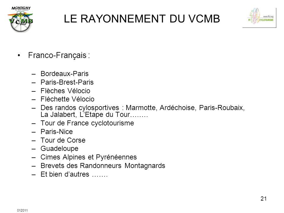 LE RAYONNEMENT DU VCMB Franco-Français : Bordeaux-Paris
