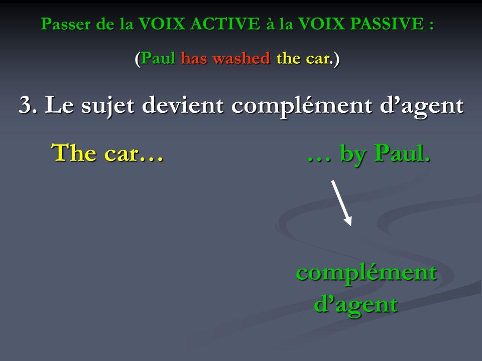 3. Le sujet devient complément d'agent The car… … by Paul.