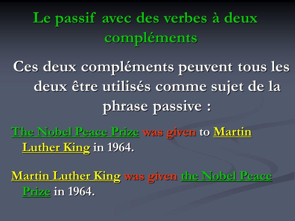 Le passif avec des verbes à deux compléments