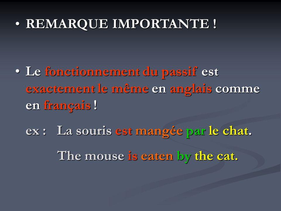REMARQUE IMPORTANTE ! Le fonctionnement du passif est exactement le même en anglais comme en français !