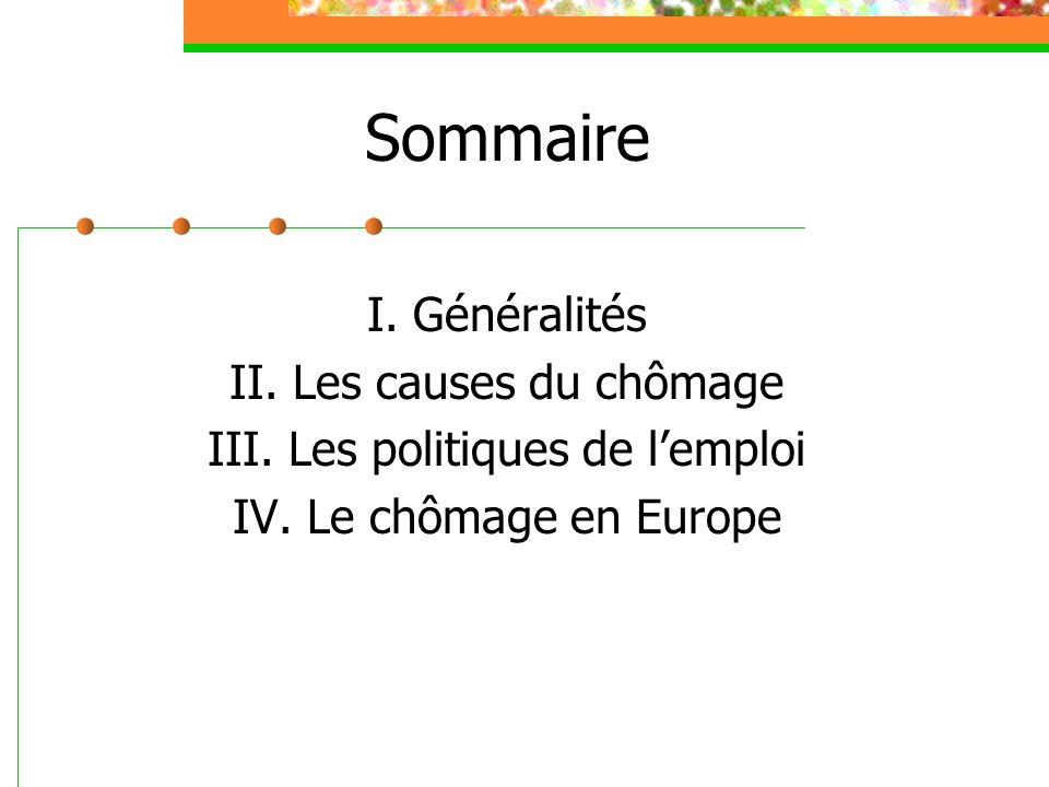 Sommaire I. Généralités II. Les causes du chômage