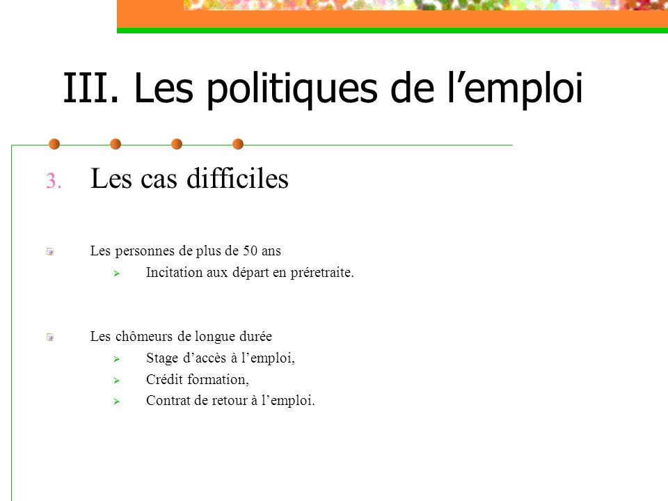III. Les politiques de l'emploi