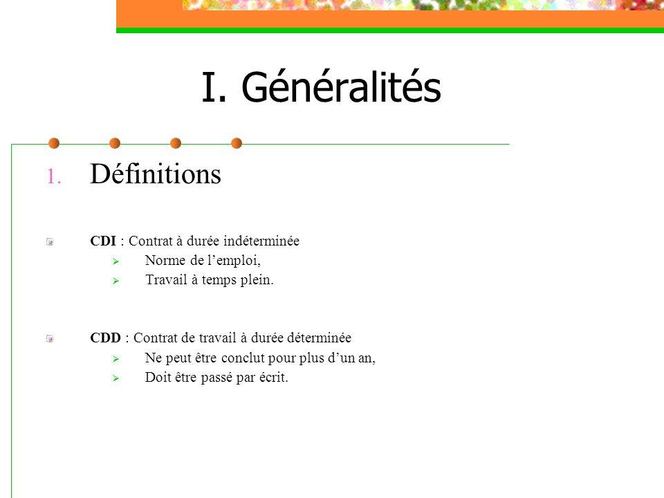 I. Généralités Définitions CDI : Contrat à durée indéterminée