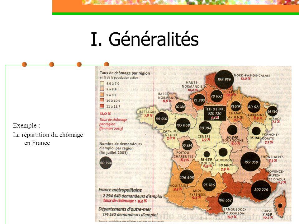 I. Généralités Exemple : La répartition du chômage en France