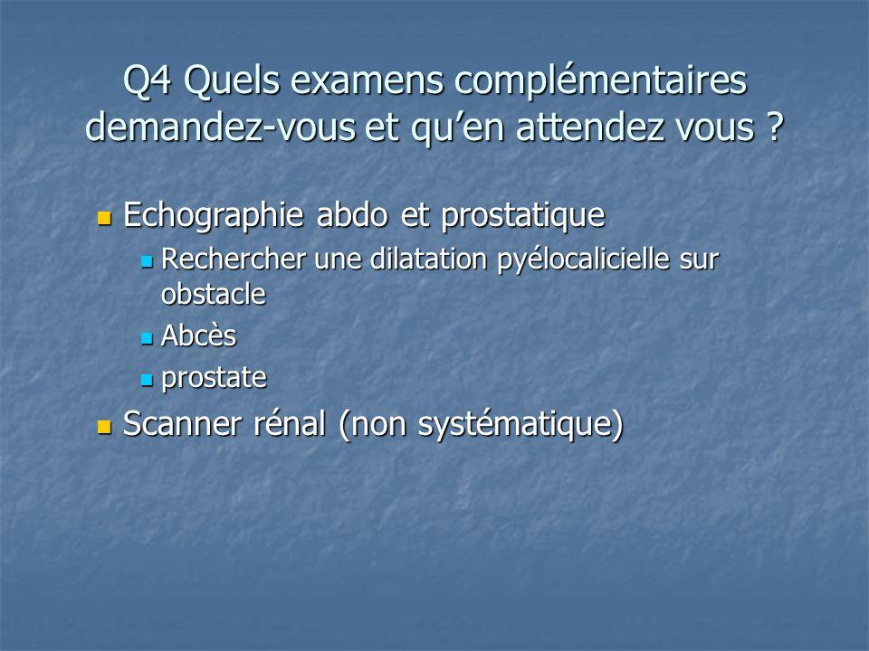 Q4 Quels examens complémentaires demandez-vous et qu'en attendez vous