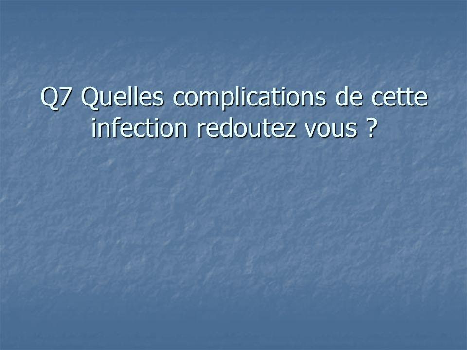 Q7 Quelles complications de cette infection redoutez vous