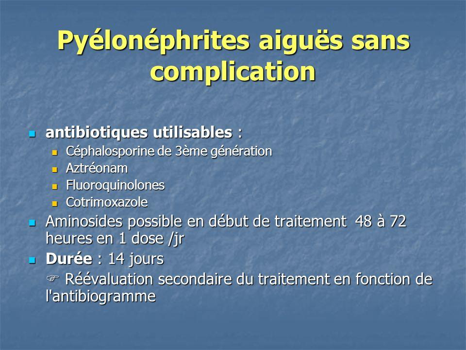 Pyélonéphrites aiguës sans complication