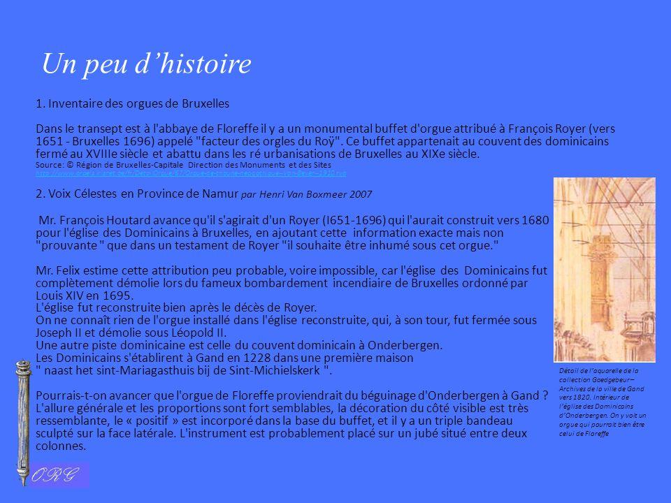 Un peu d'histoire 1. Inventaire des orgues de Bruxelles