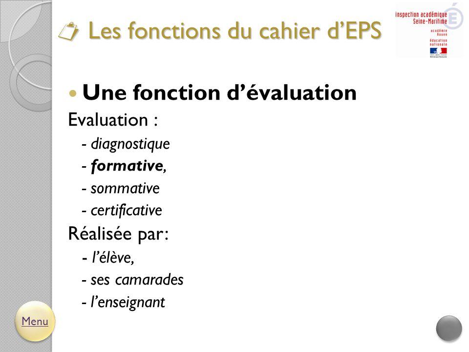  Les fonctions du cahier d'EPS