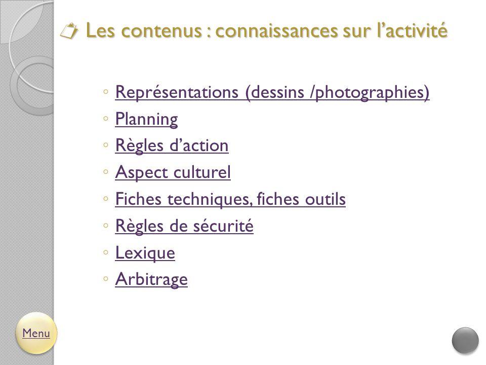  Les contenus : connaissances sur l'activité