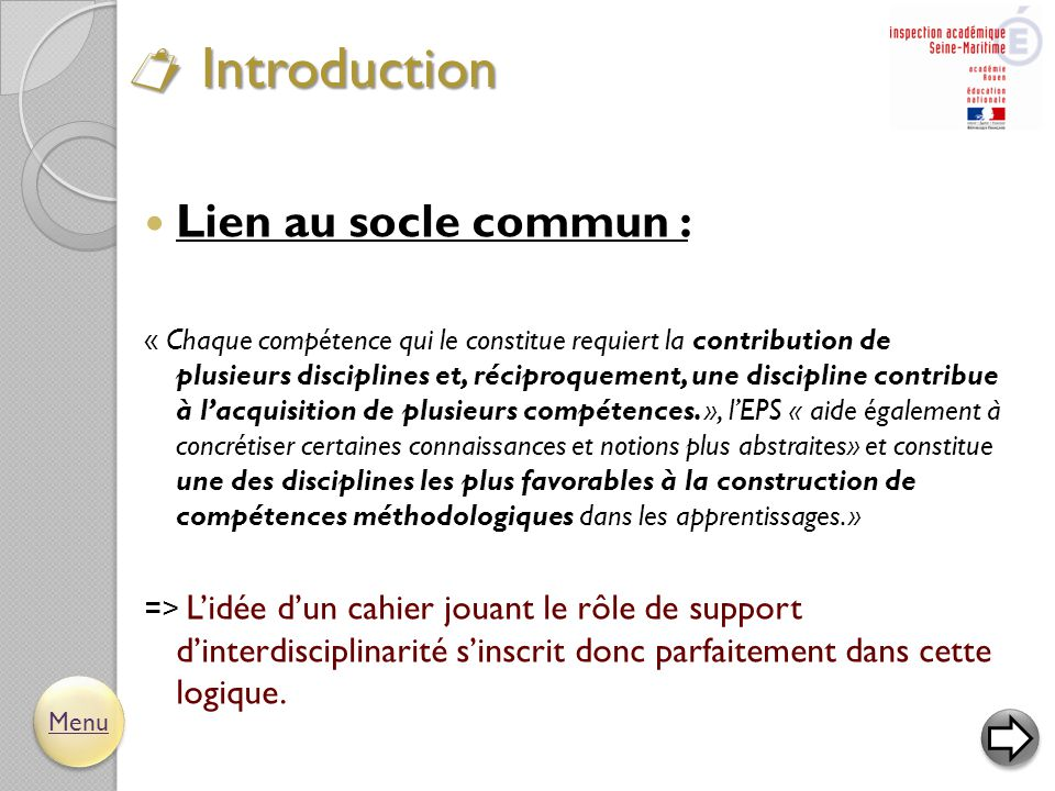 Introduction Lien au socle commun :