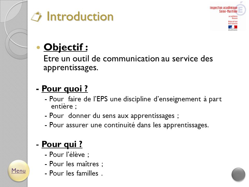  Introduction Objectif :