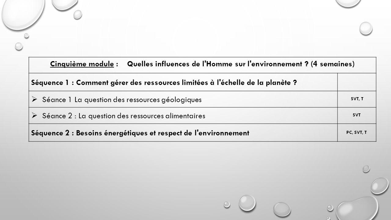 Séance 1 La question des ressources géologiques