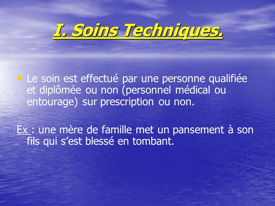 I. Soins Techniques. Le soin est effectué par une personne qualifiée et diplômée ou non (personnel médical ou entourage) sur prescription ou non.