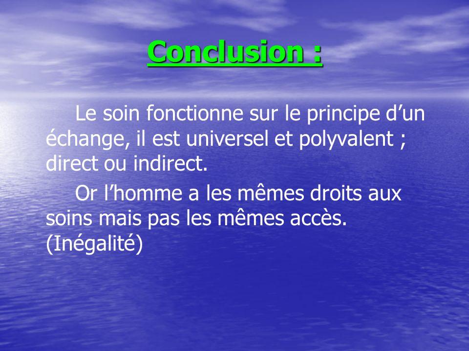 Conclusion : Le soin fonctionne sur le principe d'un échange, il est universel et polyvalent ; direct ou indirect.