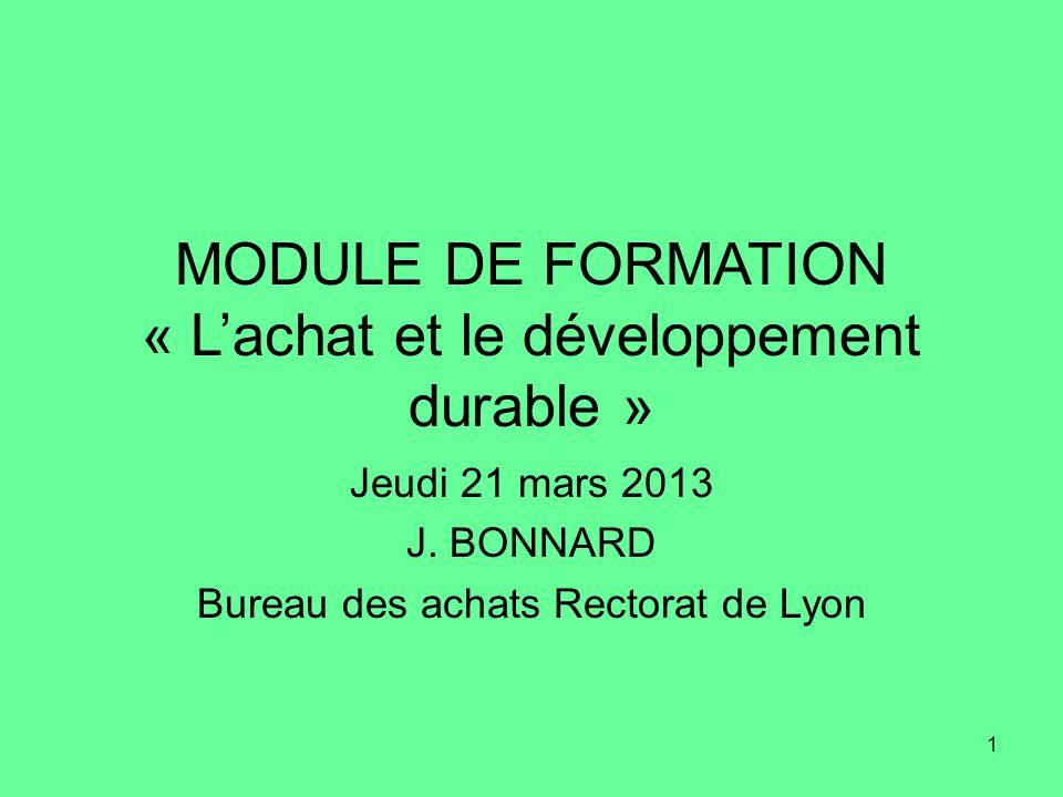 MODULE DE FORMATION « L'achat et le développement durable »