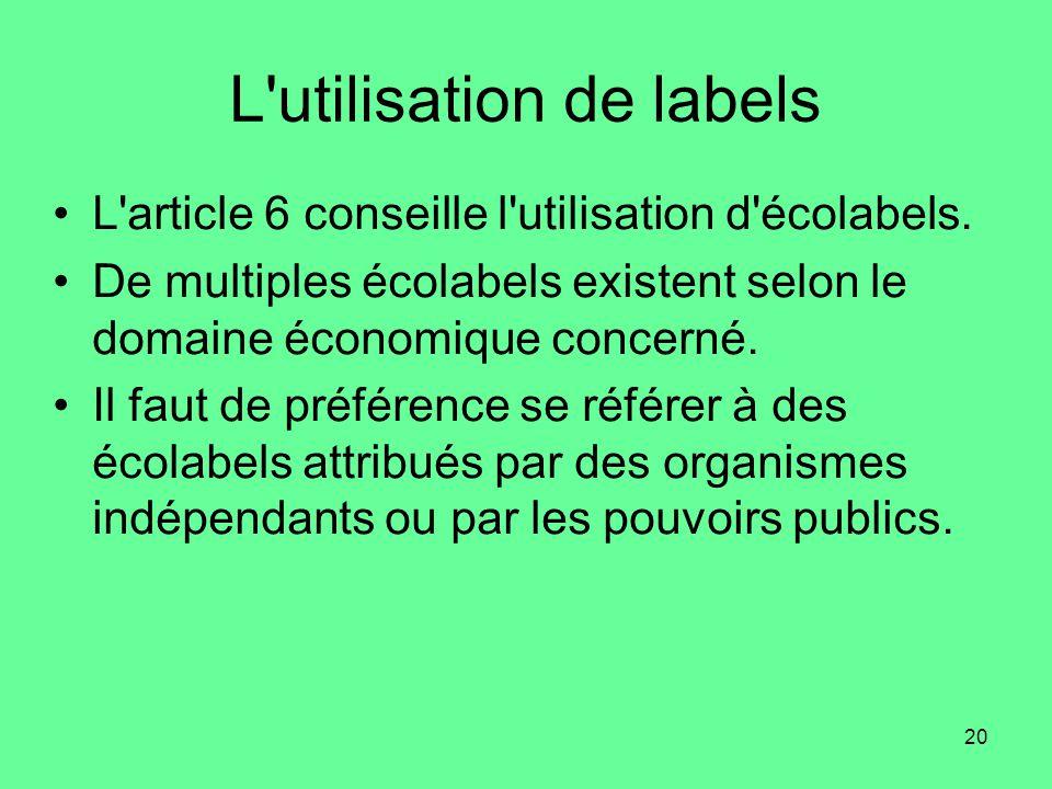 L utilisation de labels