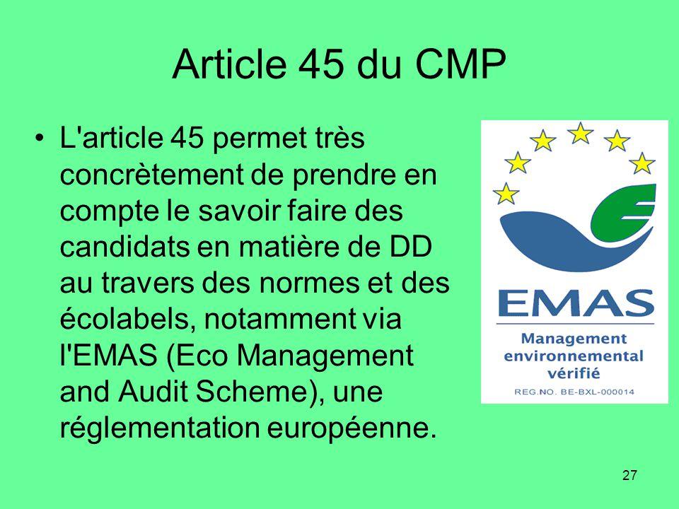 Article 45 du CMP