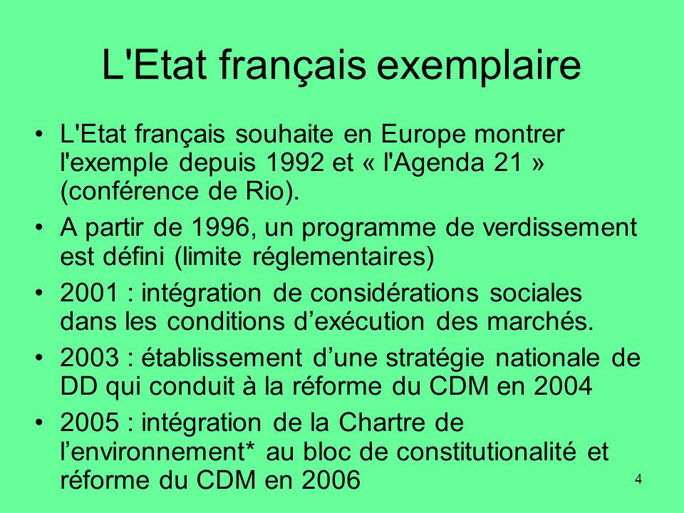 L Etat français exemplaire