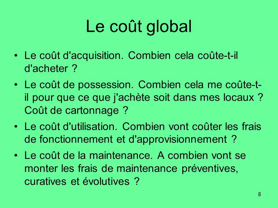 Le coût global Le coût d acquisition. Combien cela coûte-t-il d acheter