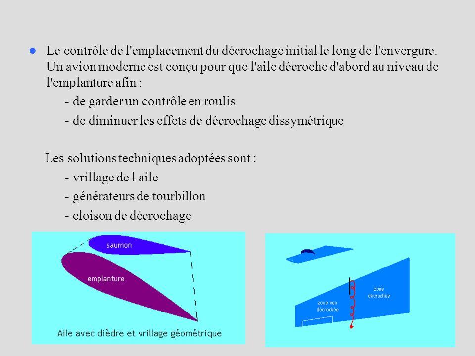 Le contrôle de l emplacement du décrochage initial le long de l envergure. Un avion moderne est conçu pour que l aile décroche d abord au niveau de l emplanture afin :