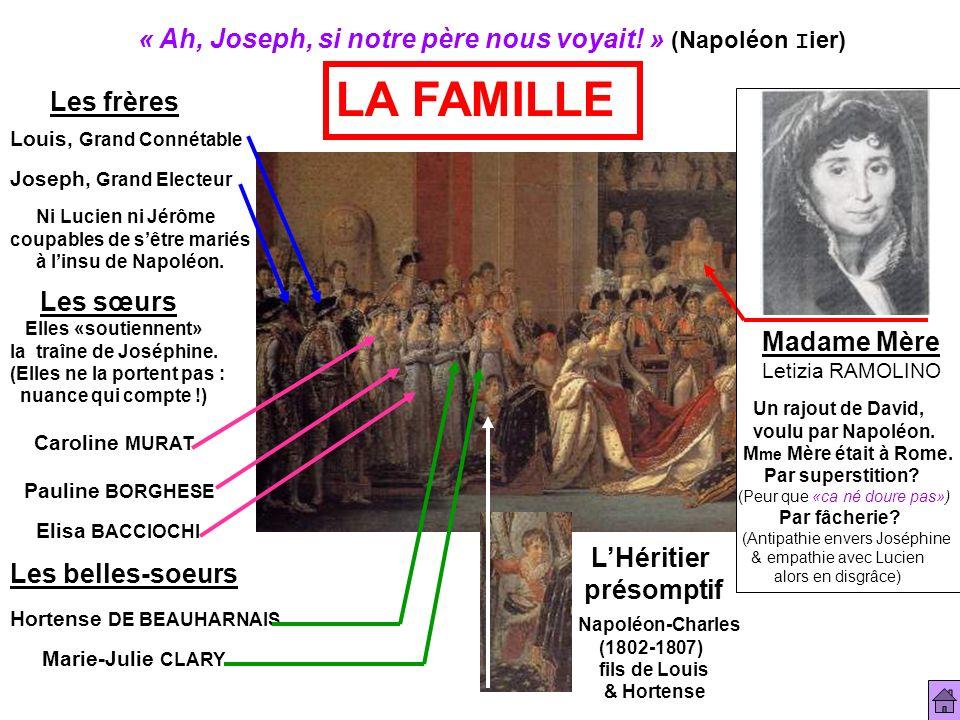 LA FAMILLE « Ah, Joseph, si notre père nous voyait! » (Napoléon Iier)