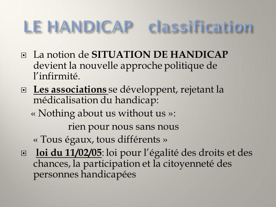 LE HANDICAP classification