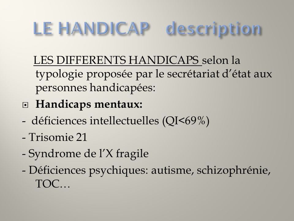 LE HANDICAP description