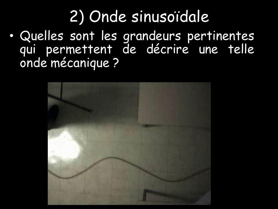 2) Onde sinusoïdale Quelles sont les grandeurs pertinentes qui permettent de décrire une telle onde mécanique
