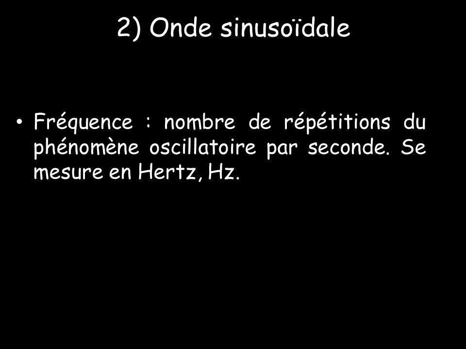 2) Onde sinusoïdale Fréquence : nombre de répétitions du phénomène oscillatoire par seconde.