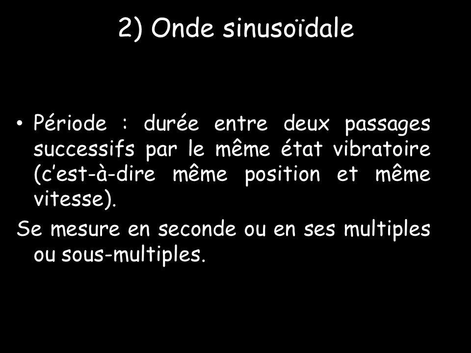 2) Onde sinusoïdale Période : durée entre deux passages successifs par le même état vibratoire (c'est-à-dire même position et même vitesse).