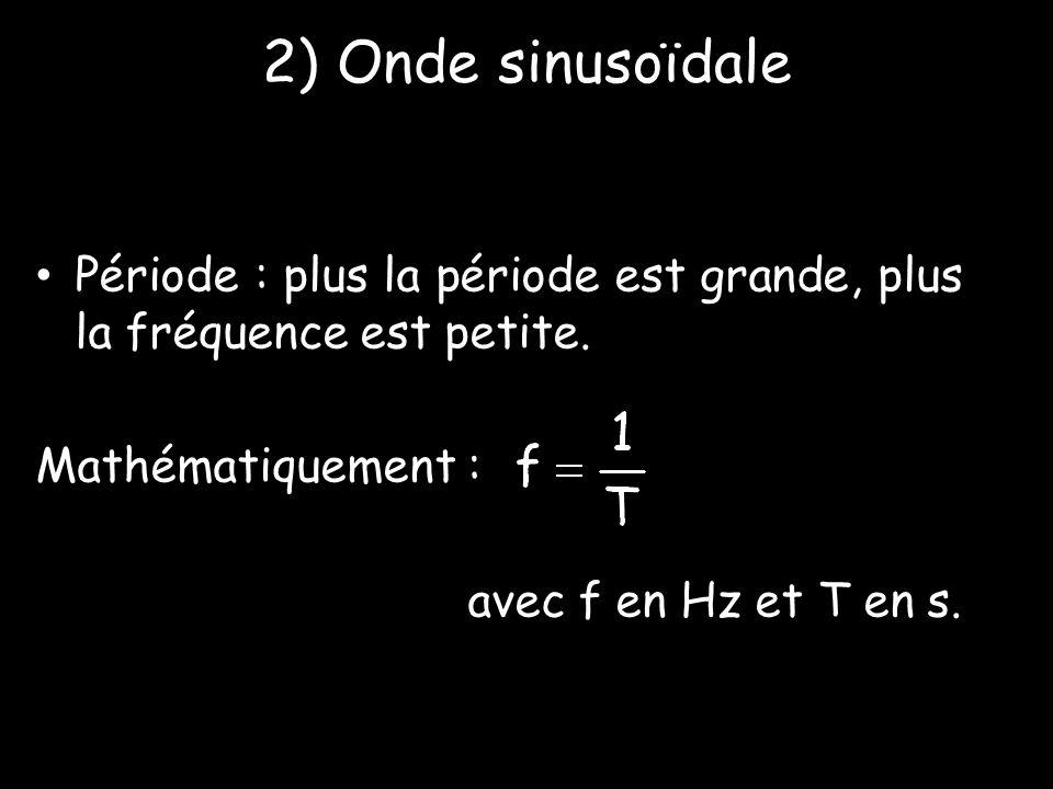 2) Onde sinusoïdale Période : plus la période est grande, plus la fréquence est petite. Mathématiquement :