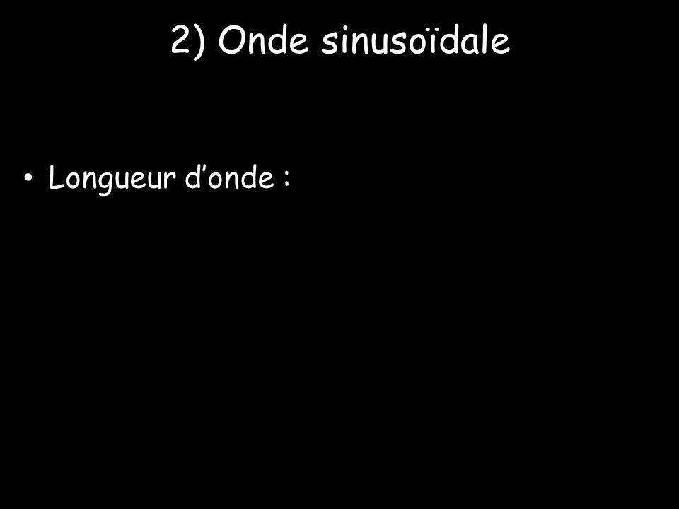 2) Onde sinusoïdale Longueur d'onde :