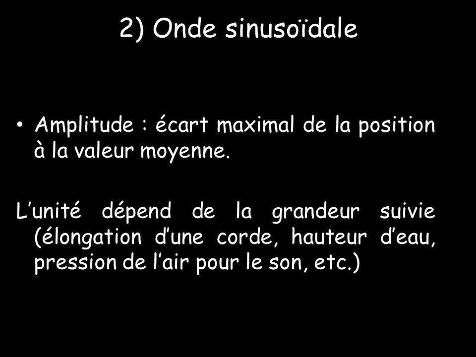 2) Onde sinusoïdale Amplitude : écart maximal de la position à la valeur moyenne.