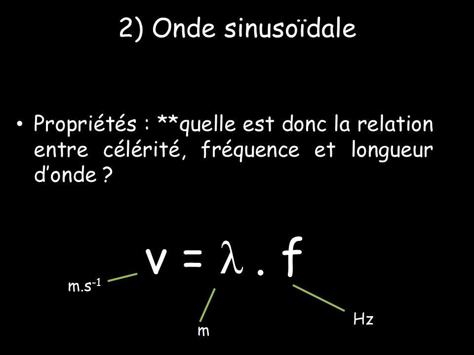 v = λ . f 2) Onde sinusoïdale
