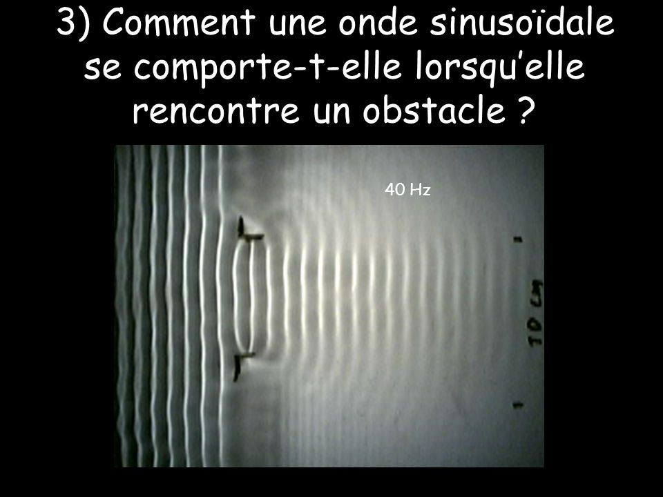 3) Comment une onde sinusoïdale se comporte-t-elle lorsqu'elle rencontre un obstacle