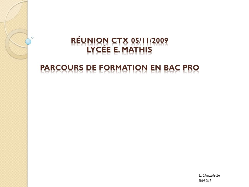 PARCOURS DE FORMATION en BAC PRO