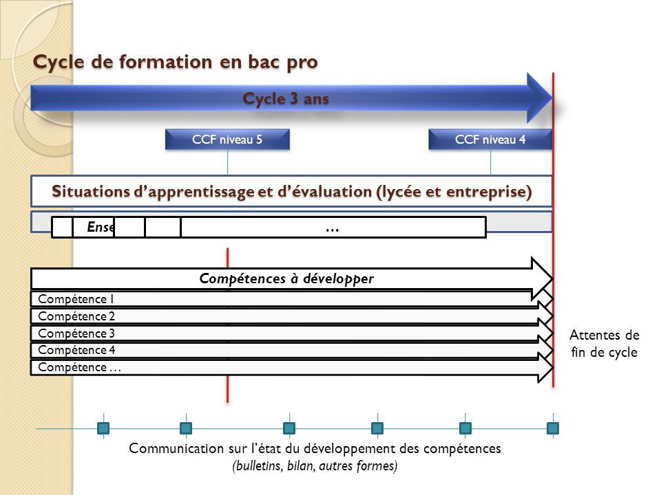 Cycle de formation en bac pro