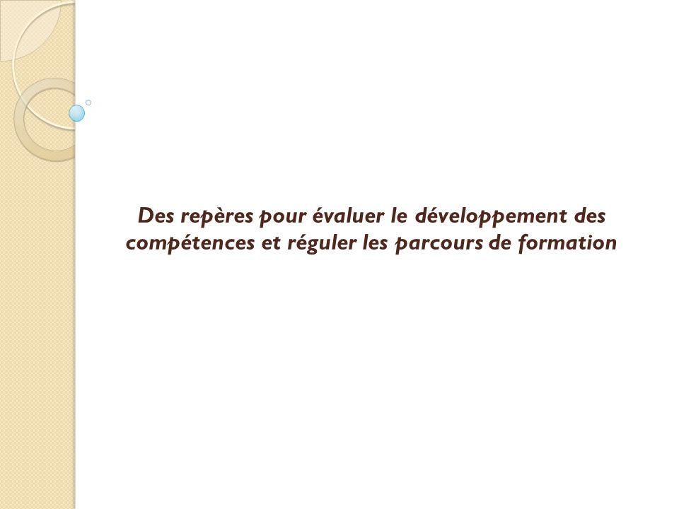 Des repères pour évaluer le développement des compétences et réguler les parcours de formation