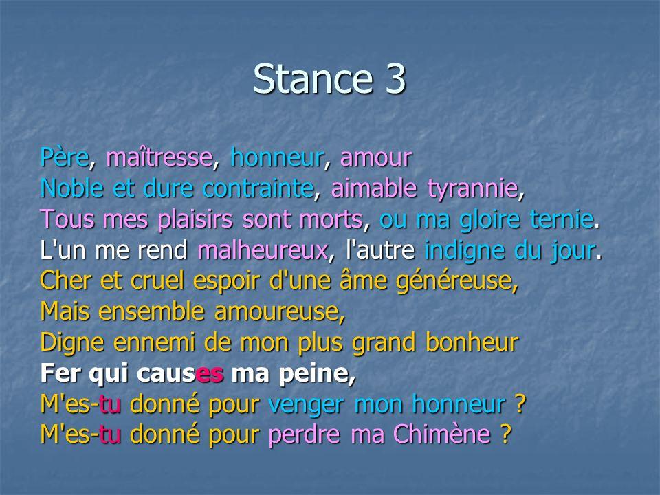 Stance 3 Père, maîtresse, honneur, amour